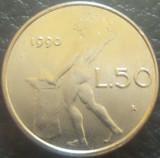 Moneda 50 LIRE - ITALIA, anul 1990 *cod 771 = A.UNC / MODEL MIC, Europa