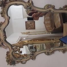 oglinda veche-vintage baroc venetian rococo ludovic,rama lemn pictat, 70-93cm
