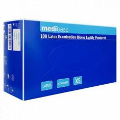 Manusi latex pudrate Medibase, culoarea alba, 100 bucati