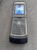 MOTOROLA RAZR V3 telefon vintage cu clapa fabricatie 2004 de colectie, Albastru, Neblocat