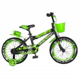Bicicleta Copii RICH BABY R16WTA, roti 16inch, roti ajutatoare cu LED, 4-6 ani, cosulet (Negru/Verde)