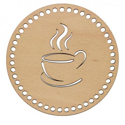 Baza din lemn pentru Crosetat Cerc Model Ceasca Cafea - Fag - 15cm - 47o - 6mm foto