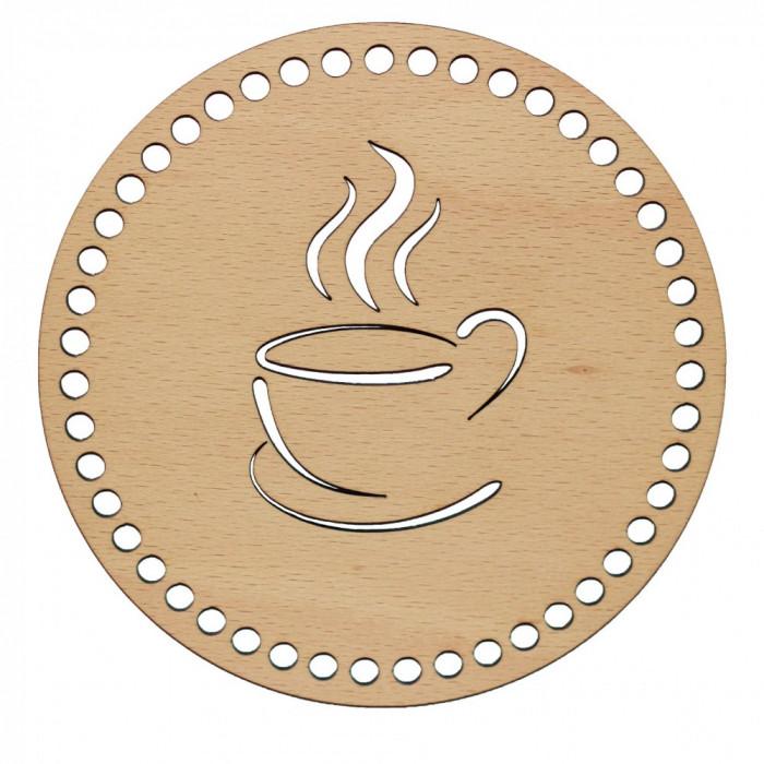 Baza din lemn pentru Crosetat Cerc Model Ceasca Cafea - Fag - 15cm - 47o - 6mm