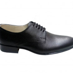 Pantofi barbati lux - eleganti din piele naturala de culoare neagra - 026NPF