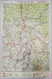 HARTA ZONEI BISTRITA - DEJ - TARGUL MURES , LITOGRAFIE de M.D. MOLDOVEANU , 1936