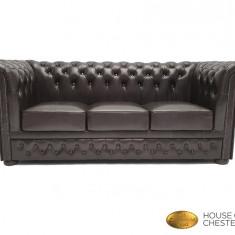 Canapea Chesterfield Brand ,Shiny  Black 3 locuri,Piele naturală