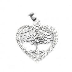 Pandantiv Copac in Inima cu Pietre , Argint 925, 1.8 cm x 1.5 cm