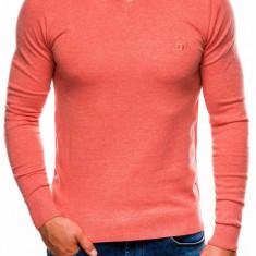 Bluza pentru barbati din bumbac somon casual slim fit E74