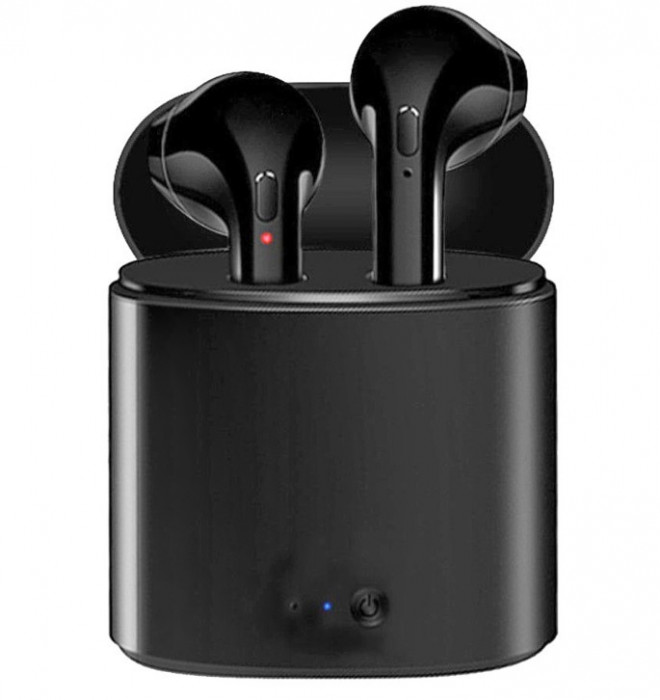 Casti Audio Wireless cu Bluetooth i7S Negru Tip in-ear pentru IOS si Android