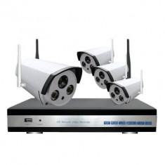 Sistem supraveghere Wireless cu 4 camere de exterior 1 Mp IP 4 canale IR 40M
