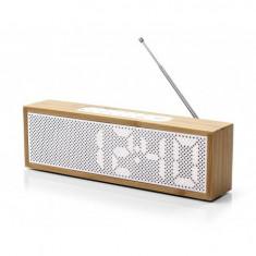 Radio cu ceas Lexon Titanium bambus alb