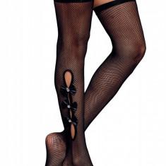 STK379-1 Ciorapi din plasa cu ochiuri mici si fundite decorative
