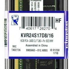 Memorie Sodimm KINGSTON 16Gb DDR4 2400Mhz PC4-2400, cl17 volti 1.2V- Ram laptop, 16 GB, Peste 2000 mhz