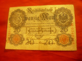 Bancnota 20 Marci 19 febr. 1914 Germania , cal. mediocra
