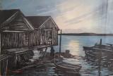 Peisaj marin - litografie color, originală, semnată de P. Engstrom