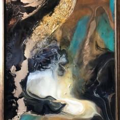 Univers turcoaz. Peisaj abstract. Tablou abstract. Tablou original semnat