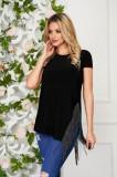 Cumpara ieftin Bluza dama StarShinerS neagra casual lunga cu croi larg din jersey cu franjuri