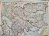 Harta Balcanilor de Nord, cu reprezentare a Romaniei, tiparita in 1905