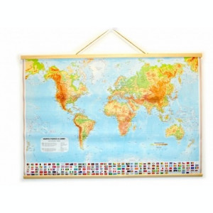 Harta fizica a lumii pentru uz didactic, dim. 67 x 96 cm