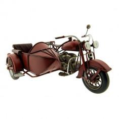 Macheta motocicleta cu atas retro metal burgundy 27*20*14 cm