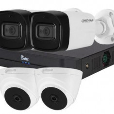 Sistem supraveghere SAFER mixt 2 camere 2 MP IR 80M audio lentila 3.6mm Dahua HAC HFW1200TL A si 2 camere 2 MP IR 20 metri Dahua HAC T1A21 028