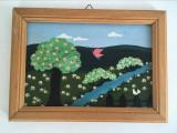 Lot 3 tablouri peisaje: primavara, vara si toamna, autor H. Speckbacher 20x15cm