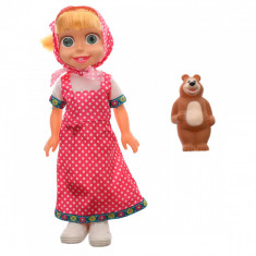 Papusa in rochie bavareza, de jucarie, cu ursulet - XD37