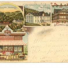 Litografie Govora  1903 , expediata la JASSY  lui N. A. BOGDAN, Circulata, Printata