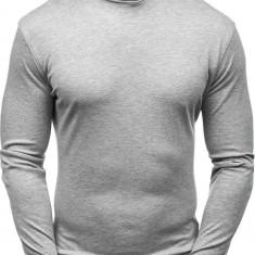 Pulover pe gât fără imprimeu pentru bărbat gri Bolf 145347