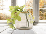 Vaza decorativa din sticla reciclata Roto Round Medium Fumuriu, Ø21xH20 cm