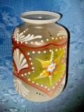 3036-Abajur Sticla pictata de lampa veche Art Deco anii 1930.