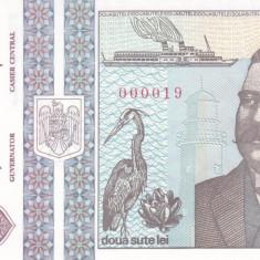 Bancnota Romania 200 Lei 1992 - P100 UNC ( numar mic 000019 )