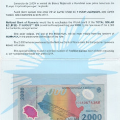 ROMANIA - FOLDER BANCNOTA ECLIPSA - 2000(2 000) LEI