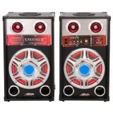 Set 2 Boxe 1 Activ + 1 Pasiv, 613D, 2 x 80 W, Bluetooth, Usb, TF Card, Nivel Volum, 2 Intrari Microfon , Negru, Oem