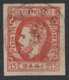 """Cumpara ieftin ROMANIA 1871 CAROL CU BARBA 15bani ROSU- STAMPILA """"JASSY/GARA"""", LP.32, SUPERB !!"""