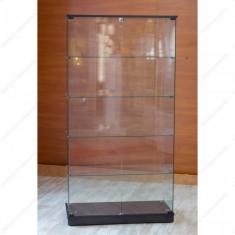 Vitrina din sticla calita, fara cadru, negru, 1795 x 932 x 446 mm