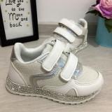 Adidasi albi cu strasuri argintii pantofi cu scai pentru fete 27