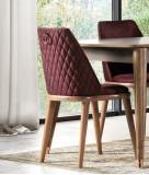 Scaun tapitat cu stofa si picioare din lemn Toscana Dore Burgundy / Natural, l46xA48xH87 cm