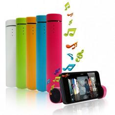Mini Sistem Audio Portabil 3-in-1, Boxa, PowerBank 1000mAh si Suport Telefon + Cablu USB si Jack, Culoare Negru