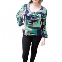 Bluza din voal, cu imprimeu bleumarin-bej-verde, masura mare