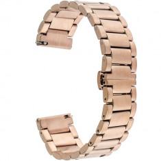 Curea ceas Smartwatch Samsung Gear S3, iUni 22 mm Otel Inoxidabil, Rose Gold