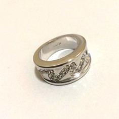 Inel verigheta-placat cu aur alb 18k si cristale Swarovski- marimea 6-52mm