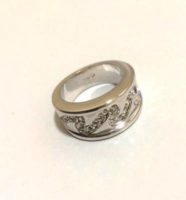 Inel verigheta-placat cu aur alb 18k si cristale Swarovski- marimea 6-52mm foto