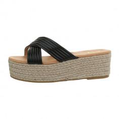 Papuci trendy, negri, cu platforma, 36 - 41, Negru