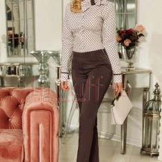 Pantaloni dama Fofy gri cu talie inalta
