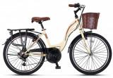 "Bicicleta City Umit Alanya, culoare Crem/Maro, roata 24"", OtelPB Cod:24100000006"