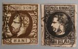 Romania 1866-71 Carol cu barba 25b. si Carol cu fav. 20p. stampilate. Vezi foto!