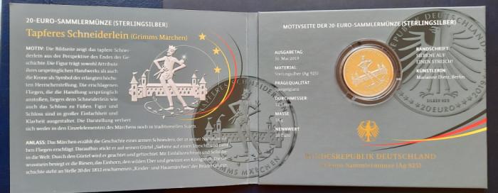 """Moneda comemorativa de argint - 20 Euro """"Tapferes Schneiderlein"""" 2019 - Proof"""