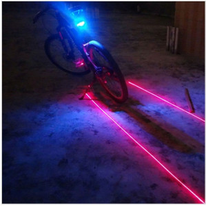 Stop 5 led pentru bicicleta si 2 lasere traseu, culoare albastra, laser rosu