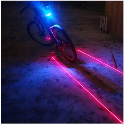 Stop 5 led pentru bicicleta si 2 lasere traseu, culoare albastra, laser rosu foto
